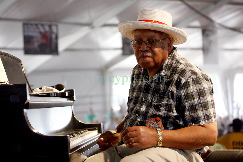 May 03 2009. New Orleans, Louisiana,  USA. <br /> New Orleans Jazz and Heritage Festival. JazzFest.<br /> Legendary Jazz pianist Ellis Marsalis plays the Jazz tent.<br /> Ellis Marsalis passed away April 1st 2020 of complications associated with Coronavirus - COVID-19.<br /> Photo ©; Charlie Varley/varleypix.com