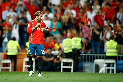 June 10, 2019 - Madrid, MADRID, SPAIN - Sergio Ramos Garcia of Spain celebrates a goal during the 2020 UEFA European Championships group F, European Qualifiers, played between Spain and Sweden at Santiago Bernabeu Stadium in Madrid, Spain, on June 10, 2019. (Credit Image: © AFP7 via ZUMA Wire)