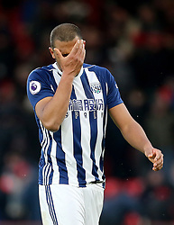 """West Bromwich Albion's Salomon Rondon appears dejected during the Premier League match at the Vitality Stadium, Bournemouth. PRESS ASSOCIATION Photo. Picture date: Saturday March 17, 2018. See PA story SOCCER Bournemouth. Photo credit should read: Mark Kerton/PA Wire. RESTRICTIONS: EDITORIAL USE ONLY No use with unauthorised audio, video, data, fixture lists, club/league logos or """"live"""" services. Online in-match use limited to 75 images, no video emulation. No use in betting, games or single club/league/player publications."""
