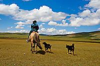 Mongolie, province de Zavkhan, femme nomade avec ses chiens// Mongolia, Zavkhan province, nomad woman with dog