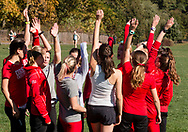 New York, New York - Runners from Cornell University huddle before the Ivy League Heptagonal women's<br /> cross country championship meet at Van Cortlandt Park in the Bronx on Oct. 26, 2017.