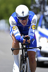 June 7, 2017 - Bourgoin Jallieu, France - BOURGOIN-JALLIEU, FRANCE - JUNE 7 : VERMOTE Julien (BEL) Rider of Quick-Step Floors Cycling team during stage 4 of the 69th edition of the Criterium du Dauphine Libere cycling race, an individual time trail of 23,5 kms between La Tour-du-Pin and Bourgoin-Jallieu on June 07, 2017 in Bourgoin-Jallieu, France, 7/06/2017 (Credit Image: © Panoramic via ZUMA Press)