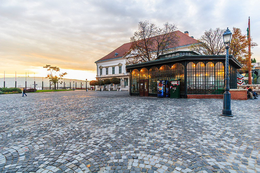The Castle Hill Funicular station and The Sándor Palace in Budapest, Hungary. The Sándor Palace in the Buda Castle is the Office of the President of Hungary.