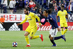 May 15, 2019 - Foxborough, MA, U.S. - FOXBOROUGH, MA - MAY 15: New England Revolution midfielder Zachary Herivaux (21) chases Chelsea FC forward Gonzalo Higua'n (9) during the Final Whistle on Hate match between the New England Revolution and Chelsea Football Club on May 15, 2019, at Gillette Stadium in Foxborough, Massachusetts. (Photo by Fred Kfoury III/Icon Sportswire) (Credit Image: © Fred Kfoury Iii/Icon SMI via ZUMA Press)