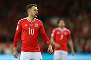 Aaron Ramsey of Wales looks on. Wales v Rep of Ireland , FIFA World Cup qualifier , European group D match at the Cardiff city Stadium in Cardiff , South Wales on Monday 9th October 2017. pic by Andrew Orchard, Andrew Orchard sports photography