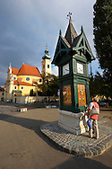 Weather Forecast Column and Carmelite church - Gyor ( Gy?r  ) Hungary .<br /> <br /> Visit our HUNGARY HISTORIC PLACES PHOTO COLLECTIONS for more photos to download or buy as wall art prints https://funkystock.photoshelter.com/gallery-collection/Pictures-Images-of-Hungary-Photos-of-Hungarian-Historic-Landmark-Sites/C0000Te8AnPgxjRg