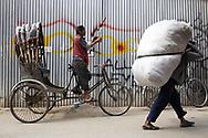 Daily life street scene in Tamel district of Kathmandu, Nepal.