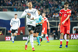 LEIPZIG, Nov. 16, 2018  Germany's Serge Gnabry (2nd L) celebrates scoring during an international friendly match between Germany and Russia in Leipzig, Germany, Nov. 15, 2018. Germany won 3-0. (Credit Image: © Kevin Voigt/Xinhua via ZUMA Wire)
