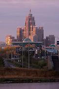Triumf Astana (Triumph of Astana) appartment building at sunrise, Ishim River.
