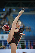 Alina Maksimenko during final at ball in the Pesaro World Cup at the Adriatic Arena in Pesaro, Italy on 28 April 2013.<br /> Alina is an Ukrainian individual rhythmic gymnast. She was born on July 10, 1991 in Zaporizhia, Ukraine.