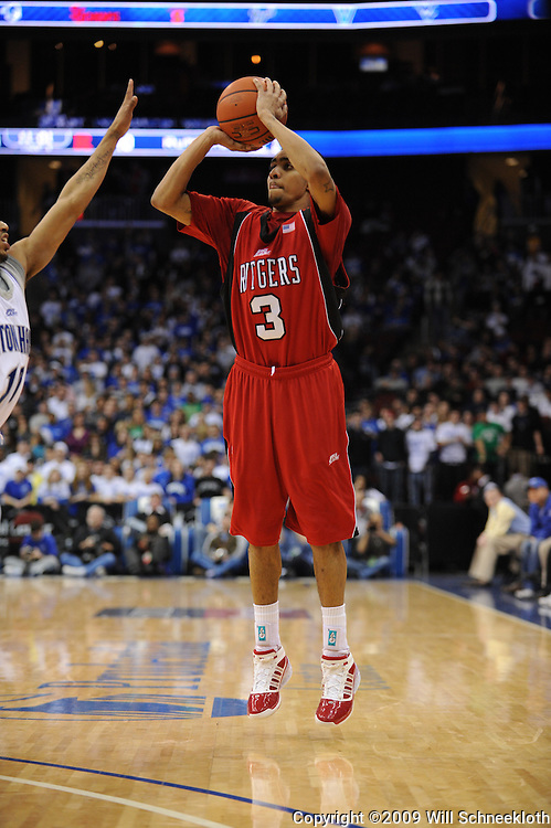 Jan 29, 2009; Newark, NJ, USA; Rutgers guard Mike Rosario (3) takes a three point shot during the second half of Seton Hall's 70-67 victory at the Prudential Center.