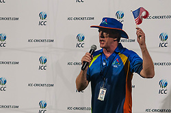 September 22, 2018 - Morrisville, North Carolina, US - Sept. 22, 2018 - Morrisville N.C., USA - MARK STOHLMAN with the Triangle Cricket League, address the players and fans after the ICC World T20 America's ''A'' Qualifier cricket match between USA and Canada. Both teams played to a 140/8 tie with Canada winning the Super Over for the overall win. In addition to USA and Canada, the ICC World T20 America's ''A'' Qualifier also features Belize and Panama in the six-day tournament that ends Sept. 26. (Credit Image: © Timothy L. Hale/ZUMA Wire)