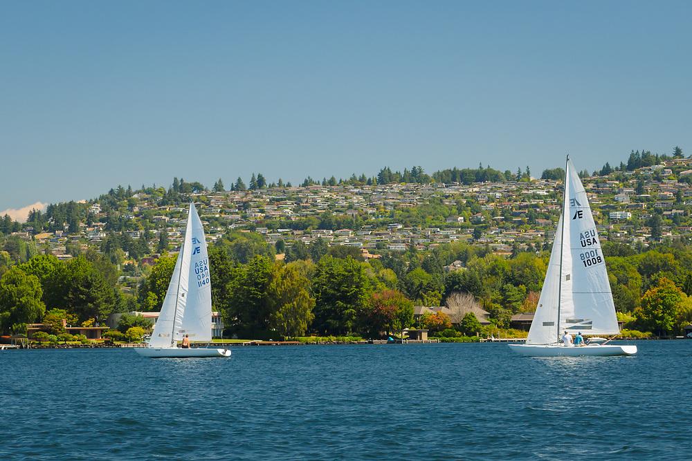 United States, Washington, Bellevue. Houses overlooking Lake Washington. Editorial Use Only.