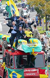 Técnico gaúcho Luiz Felipe Scolari durante as comemorações da Copa do Mundo de 2002 em que venceu como técnico do Brasil. FOTO: Jefferson Bernardes/Preview.com