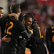 Alex, (center), Houston, is congratulated by team mates after scoring during the New York Red Bulls Vs Houston Dynamo, Major League Soccer regular season match at Red Bull Arena, Harrison, New Jersey. USA. 19th March 2016. Photo Tim Clayton