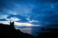Evening light and silhouette of Gylen Castle, Kerrera Island, Scotland