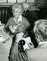 1978 Artist, Jack Lane, sketches Margaret Whiting for the Brown Derby Restaurant's Caricature of Fame Wall.