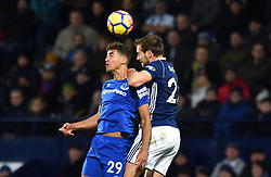 Everton's Dominic Calvert-Lewin (left) and West Bromwich Albion's Allan Nyom compete for a header