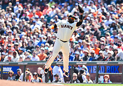 April 8, 2018 - San Francisco, California, U.S. - SAN FRANCISCO, CA - APRIL 08: San Francisco Giants Infield Pablo Sandoval (48) is airborne while he catches the ball at firstbase during a regular season game between the Los Angeles Dodgers and San Francisco Giants on April 8, 2018, at AT&T Park in San Francisco, CA. (Photo by Stephen Hopson/Icon Sportswire) (Credit Image: © Stephen Hopson/Icon SMI via ZUMA Press)
