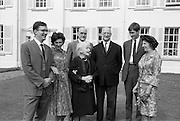 22/08/1963<br /> 08/22/1963<br /> 22 August 1963<br /> Mr Frank Aiken and family with President de Valera at Áras an Uachtaráin. Image shows:Frank Aiken Jr.; Aedamar Aiken; Sile de Valera; Frank Aiken; President Eamon de Valera; Lochlann Aiken and Maud Aiken.