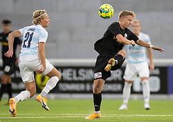 Carl Lange (FC Helsingør) og Tobias Christensen (Vendsyssel FF) under kampen i 1. Division mellem FC Helsingør og Vendsyssel FF den 18. september 2020 på Helsingør Stadion (Foto: Claus Birch).