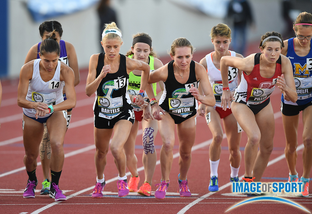 Apr 13, 2017; Torrance, CA, USA; Lauren Bartels and Emma Newton (Tulane) and Sara Piller (Bradley) on the starting line of a women's 10,000m heat during the 58th Mt. San Antonio College Relays at El Camino College.