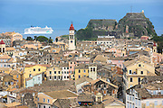 Kerkyra Corfu Town, Agios Spyridon church, Old Fort, Norwegian Jade cruise liner ship, Ionian Sea, Corfu, Ionian Islands, Greece