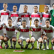 Turkey's players (Left to Right) (Front Row) Cigdem BELCI, Yesim DEMIREL, Bilgin DEFTERLI, Fatma KARA, Yeliz DEMİR (Back Row) (Left to Right) Feride BAKIR, Gulcan KOCA, Cansu YAG, Leyla GUNGOR, Eylul ELGALP, goalkeeper Duygu YILMAZ during their UEFA 2013 Woman's Euro Qualifying Group Stage Group 2 soccer match Turkey  betwen Spain at Kasimpasa Recep Tayyip Erdogan stadium in Istanbul September 17, 2011. Photo by TURKPIX