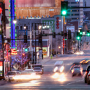 Looking south down Main Street in Kansas City Missouri in the evening.