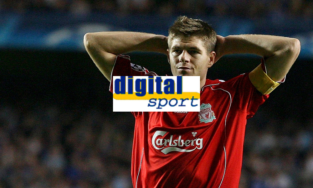 Photo: Paul Thomas.<br /> Chelsea v Liverpool. UEFA Champions League. Semi Final, 1st Leg. 25/04/2007.<br /> <br /> Dejected Steven Gerrard of Liverpool after missing a great chanc to score.