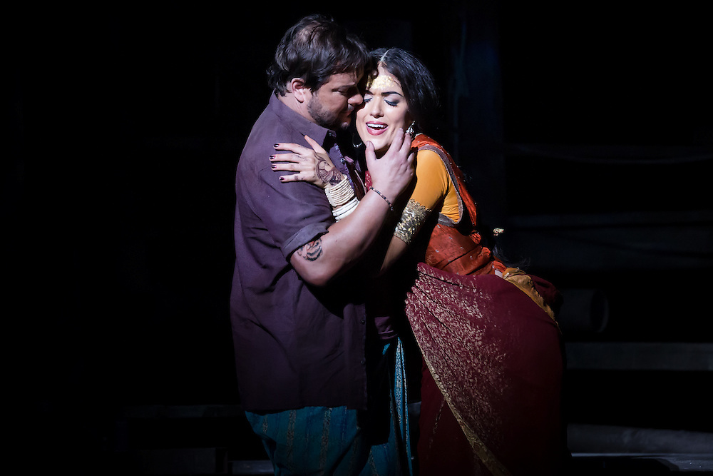 """LONDON, UK, 17 October, 2016.  Robert McPherson (as """"Nadir"""", left) and Claudia Boyle (as """"Leila"""", right) rehearse for the revival of director Penny Woolcock's production of Bizet's opera """"The Pearl Fishers"""" at the London Coliseum for the English National Opera.  The production opens on 19 October."""