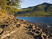 Rocky shore of Lake McDonald northeast of Fish Creek, Glacier National Park, Montana.