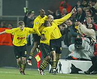 1:0 Jubel v.l. Torsten FRINGS, EVANILSON, EWERTHON, Jan KOLLER<br />Champions League  Borussia Dortmund - Real Madrid<br />Foto: Digitalsport
