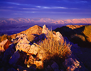 Sunset from 6,433 foot Aguereberry Point overlooking Death Valley with Amargosa Range beyond, Death Valley National Park, California.