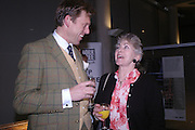 Tim Hadcock-Mackay and Valerie Singleton. Cocktail party celebrating Born Free Foundation 21 years anniversary.  Royal Geographical Society, Kensington Gore. 14 march 2005. ONE TIME USE ONLY - DO NOT ARCHIVE  © Copyright Photograph by Dafydd Jones 66 Stockwell Park Rd. London SW9 0DA Tel 020 7733 0108 www.dafjones.com