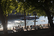 France. Paris. Seine river quays. people gathering at sunset on right bank quays. Urban beach on the Seine river quays  Paris  France