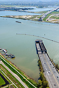 Nederland, Noord-Holland, Amsterdam, 20-04-2015; ingang Zeeburgertunnel, gezien naar Zeeburgereiland (Eiland Zeeburg), Ijburg in de achtergrond. <br /> Amsterdam-Noord. Amsterdam Ring Road with tunnel.<br /> luchtfoto (toeslag op standard tarieven);<br /> aerial photo (additional fee required);<br /> copyright foto/photo Siebe Swart