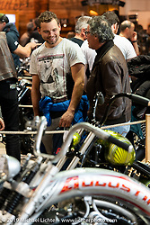 Checking out the invitational bikes on display in the Swiss-Moto Customizing and Tuning Show. Zurich, Switzerland. Saturday, February 23, 2019. Photography ©2019 Michael Lichter.