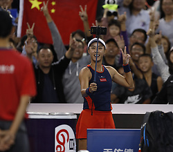 BEIJING, Oct. 2, 2018  Wang Qiang of China takes a selfie with spectators after the women's singles second round match against Jelena Ostapenko of Latvia at China Open tennis tournament in Beijing, China, Oct. 2, 2018. Wang Qiang won 2-0. (Credit Image: © Jia Haocheng/Xinhua via ZUMA Wire)