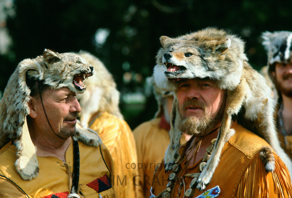 Pioneers wearing 'critters' hats at Sutters Fort, United States of America