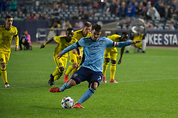 November 5, 2017 - Bronx, New York, U.S - New York City FC forward DAVID VILLA (7) scores a penalty kick for the first goal of the match during leg 2 of the Eastern Conference Semifinal at Yankee Stadium, Bronx, NY.  NYCFC defeats Columbus Crew 2-0.  Columbus wins 4-3 on aggregate. (Credit Image: © Mark Smith via ZUMA Wire)