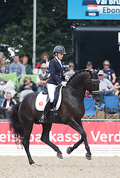 Bruntink Vai, (NED), Ebony 98<br /> Small Final 6 years old horses<br /> World Championship Young Dressage Horses - Verden 2015<br /> © Hippo Foto - Dirk Caremans<br /> 08/08/15