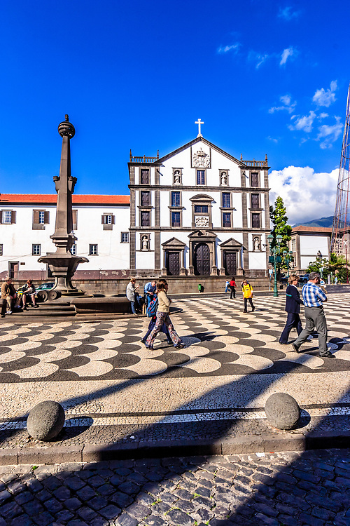 The College Church on the city square in Funchal, Madeira. The church is a typical Jesuit temple with an ample and high nave.