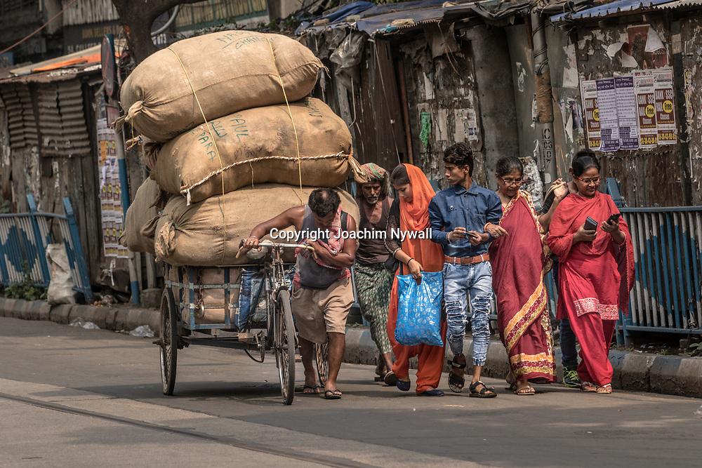 20171029 Kolkata Calcutta Indien<br /> Man med ett stort last på sin cyckelkärra vid College street<br /> <br /> ----<br /> FOTO : JOACHIM NYWALL KOD 0708840825_1<br /> COPYRIGHT JOACHIM NYWALL<br /> <br /> ***BETALBILD***<br /> Redovisas till <br /> NYWALL MEDIA AB<br /> Strandgatan 30<br /> 461 31 Trollhättan<br /> Prislista enl BLF , om inget annat avtalas.