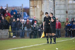 Ref Gavin Duncan talks to linesman before he disallowed Albion Rover's  gaol. Albion Rover 1 v 2 Airdrie, Scottish League 1 game played 5/11/2016 at Cliftonhill.