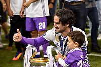 Isco of Real Madrid with the trophy during the UEFA Champions League Final match between Real Madrid and Juventus at the National Stadium of Wales, Cardiff, Wales on 3 June 2017. Photo by Giuseppe Maffia.<br /> <br /> Giuseppe Maffia/UK Sports Pics Ltd/Alterphotos