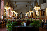 The Art Nouveau interior of Kavarna Obecni dum (cafe), on 18th March, 2018, in Prague, the Czech Republic. The Secession-era Kavarna Obecni dum is deservedly considered among the most beautiful cafes in Prague, located on the ground floor of the Municipal House on Náměstí Republiky.
