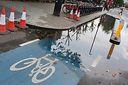 A section of the CS2 cycling superhighway blocked due to recent rainfall, on 29th August 2018, in London, England. The CS2 cycle route is about 4.3 miles (6.8 kilometres), from Stratford to Aldgate.