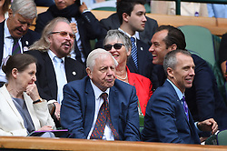 Actor Jude Law (USA) with his mother and singer Barry Gibb (USA) during the men semi finals at the 2017 Wimbledon Championships at the AELTC in London, UK, on July 14, 2017. Photo by Corinne Dubreuil/ABACAPRESS.COM
