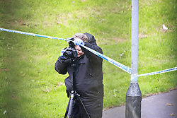 © Licensed to London News Pictures. 09/08/2021. Bolton, UK . A 15 year old boy is in a serious condition in Royal Bolton Hospital after being attacked last night (8th August 2021) . Police have taped off a pathway on an underpass beneath Settle Street, parallel to Rupert Street in Great Lever , as they investigate . Two males have been arrested , a 17 year old on suspicion of wounding with intent and a 20 year old on suspicion of a public order offence . Photo credit: Joel Goodman/LNP